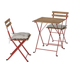 TÄRNÖ - Table+2 chairs, outdoor, red/light brown stained/Kuddarna grey