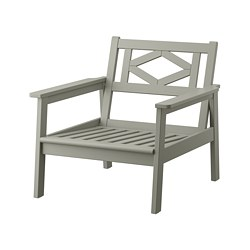 BONDHOLMEN - Armchair, outdoor, grey stained