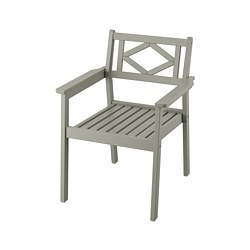 BONDHOLMEN - Chair with armrests, outdoor, grey stained