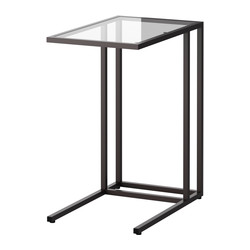 VITTSJÖ - Laptop stand, black-brown/glass