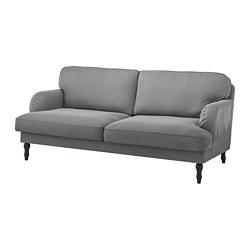 STOCKSUND - 3-seat sofa, Ljungen medium grey/black/wood