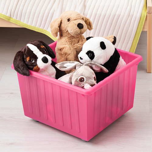 VESSLA - storage crate with castors, light pink, 39x39 cm   IKEA Indonesia - PE649299_S4