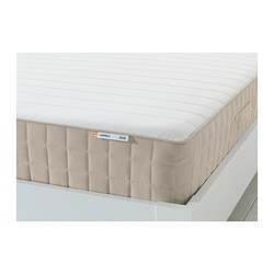 HAFSLO - Sprung mattress, firm/beige