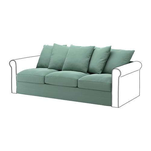 GRÖNLID - sarung untuk bagian 3 dudukan, Ljungen hijau muda | IKEA Indonesia - PE668624_S4