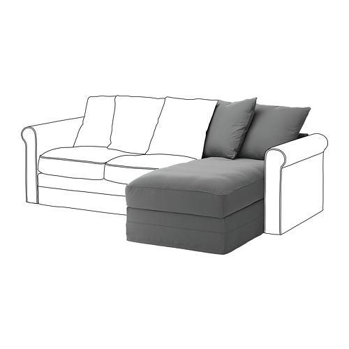 GRÖNLID - sarung untuk bagian sofa-chaise, Ljungen abu-abu medium   IKEA Indonesia - PE668634_S4