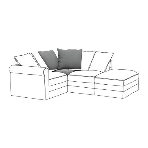 GRÖNLID - sarung untuk bagian sudut, Ljungen abu-abu medium   IKEA Indonesia - PE668629_S4