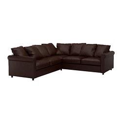 GRÖNLID - Sofa sudut, 4 dudukan, Kimstad cokelat tua