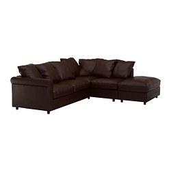 GRÖNLID - Sofa sudut, 4 dudukan, dengan ujung terbuka/Kimstad cokelat tua