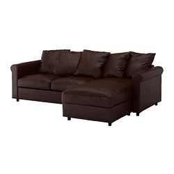 GRÖNLID - 3-seat sofa, with chaise longue/Kimstad dark brown