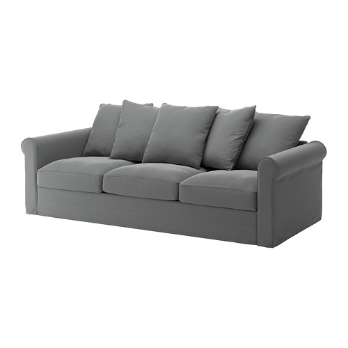 GRÖNLID - sarung untuk sofa 3 dudukan, Ljungen abu-abu medium | IKEA Indonesia - PE668739_S4