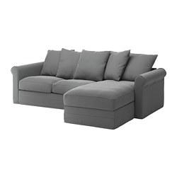GRÖNLID - Sofa 3 dudukan, dengan chaise longue/Ljungen abu-abu medium