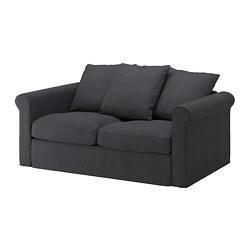 GRÖNLID - Sofa 2 dudukan, Sporda abu-abu tua