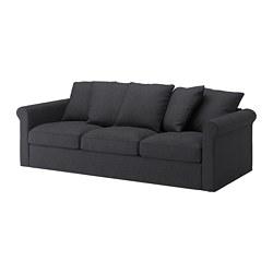 GRÖNLID - Sofa 3 dudukan, Sporda abu-abu tua