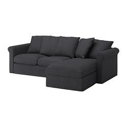 GRÖNLID - Sofa 3 dudukan, dengan chaise longue/Sporda abu-abu tua