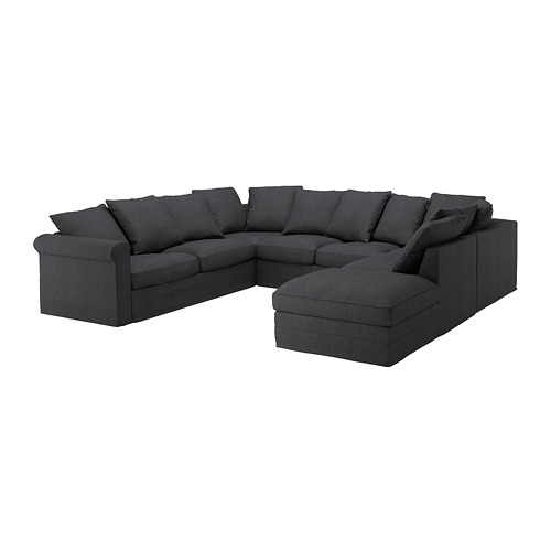 GRÖNLID - sofa bentuk u, 6 dudukan, dengan ujung terbuka/Sporda abu-abu tua   IKEA Indonesia - PE668748_S4