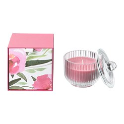 BLOMDOFT - Scented candle in glass, Peony/pink