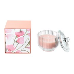 BLOMDOFT - Scented candle in glass, Sweet pea/light orange