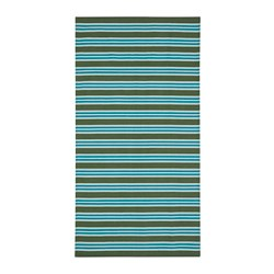SOMMAR 2020 - Rug, flatwoven, striped turquoise/green