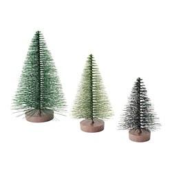 VINTERFEST - Set hiasan 3 unit, pohon Natal/hijau