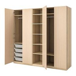 PAX - Lemari pakaian, efek kayu oak diwarnai putih/Forsand efek kayu oak diwarnai putih, 250x60x236 cm
