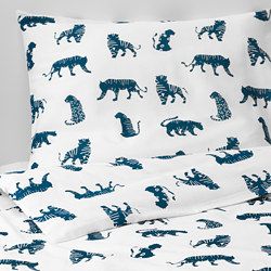 URSKOG - Quilt cover and pillowcase, tiger/blue