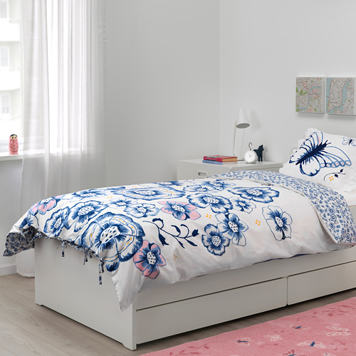 SÅNGLÄRKA - quilt cover and pillowcase, butterfly/white blue, 150x200/50x80 cm   IKEA Indonesia - PE709446_S4