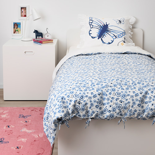 SÅNGLÄRKA - quilt cover and pillowcase, butterfly/white blue, 150x200/50x80 cm   IKEA Indonesia - PE709447_S4