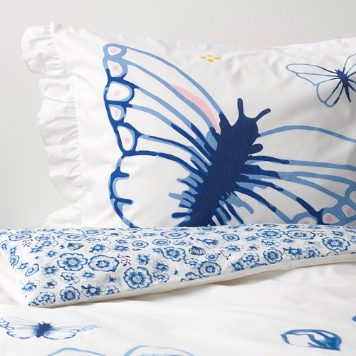 SÅNGLÄRKA - quilt cover and pillowcase, butterfly/white blue, 150x200/50x80 cm   IKEA Indonesia - PE709450_S4