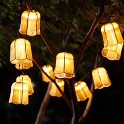 SOLVINDEN - Rantai lampu LED dengan 12 lampu, luar ruang tenaga surya/Tulip warna emas