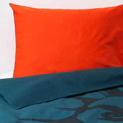 URSKOG - Sarung quilt dan sarung bantal, singa/biru tua, 150x200/50x80 cm