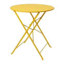 SALTHOLMEN - Table, outdoor, foldable/yellow