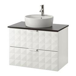 GODMORGON/TOLKEN/TÖRNVIKEN - Meja wastafel dg meja ukuran 45, Resjön putih/antrasit Keran Dalskär
