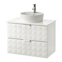 GODMORGON/TOLKEN/TÖRNVIKEN - Meja wastafel dg meja ukuran 45, Resjön putih/putih Keran Dalskär