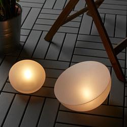 SOLVINDEN - Lampu LED tenaga surya, luar ruang/setengah bola putih