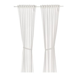LEN - Curtains with tie-backs, 1 pair, dotted/white
