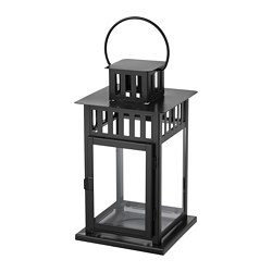 BORRBY - Lantern for block candle, in/outdoor black