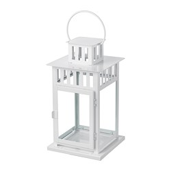 BORRBY - Lantern for block candle, in/outdoor white