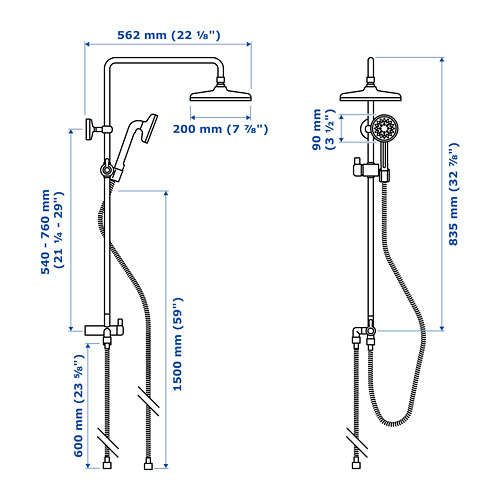 VOXNAN kit head/handshower dengan diverter
