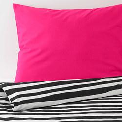 URSKOG - Sarung quilt dan sarung bantal, zebra/garis-garis, 150x200/50x80 cm