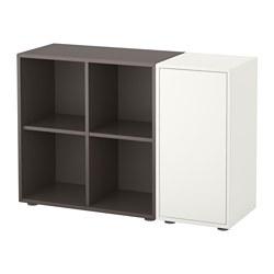 EKET - Kombinasi kabinet dengan kaki, putih/abu-abu tua