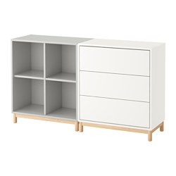 EKET - Cabinet combination with legs, white/light grey
