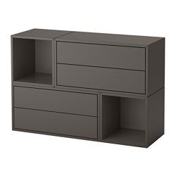 EKET - Wall-mounted cabinet combination, dark grey