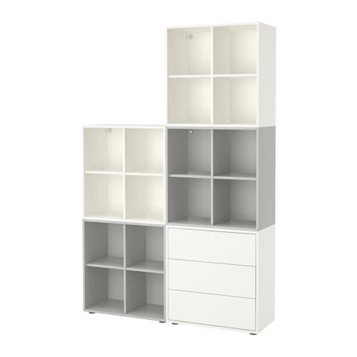 EKET - kombinasi kabinet dengan kaki, putih/abu-abu muda, 140x35x212 cm   IKEA Indonesia - PE617808_S4