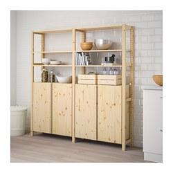 IVAR - 2 sections/shelves/cabinet, pine