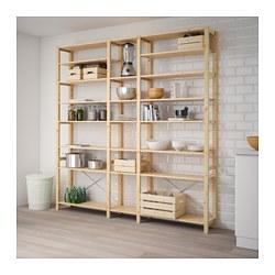 IVAR - 3 sections/shelves, pine
