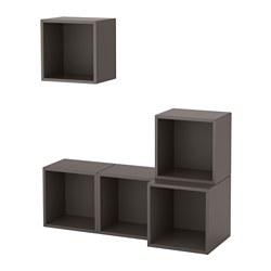 EKET - Kombinasi kabinet dpasang di dnding, abu-abu tua