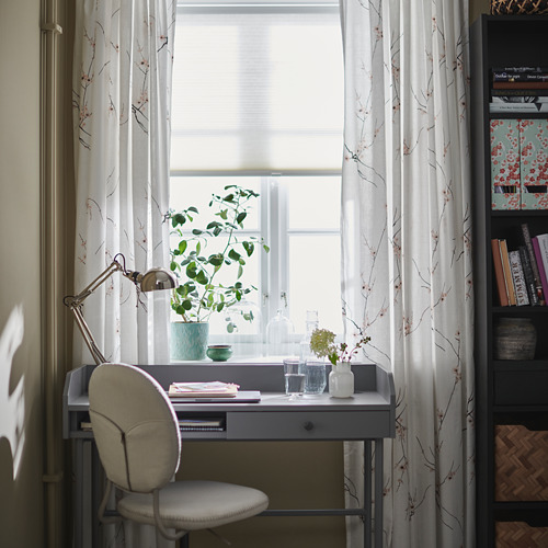RÖDLÖNN - curtains, 1 pair, white/flower, 145x250 cm   IKEA Indonesia - PH175898_S4