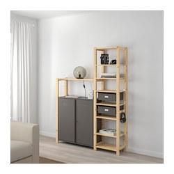 IVAR - 2 sections/shelves/cabinet, pine/grey