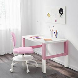 PÅHL - Meja, putih/merah muda