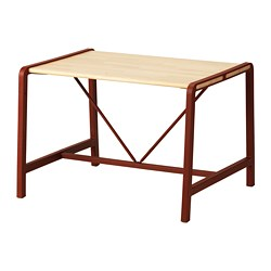 YPPERLIG - Children's table, beech/dark red